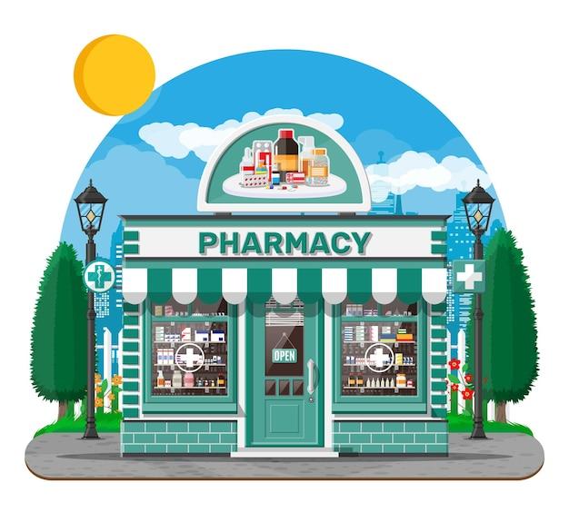 Gevel apotheek winkel met uithangbord