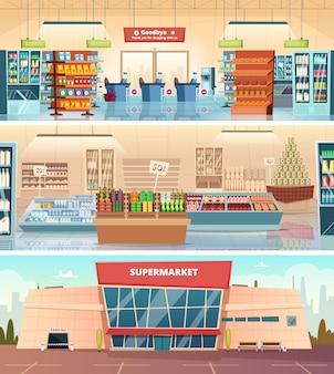 Gevel van de supermarkt. kruidenier voedselmarkt interieur winkelcentrum binnen kassa cartoon illustraties