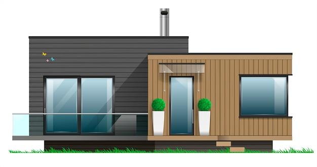 Gevel van een modern huis met een terras