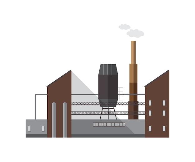 Gevel van fabrieksgebouw of ketelhuis met pijp die geïsoleerde damp of gas afgeeft