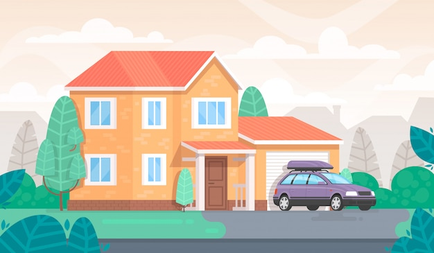 Gevel van het huis is met een garage en een auto. huisje