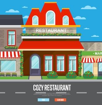 Gevel van restaurant in plat ontwerp