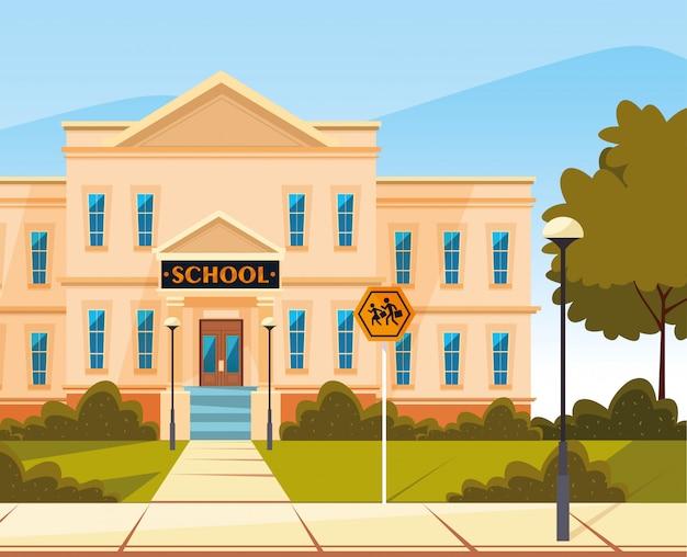 Gevel van schoolgebouw met bewegwijzering