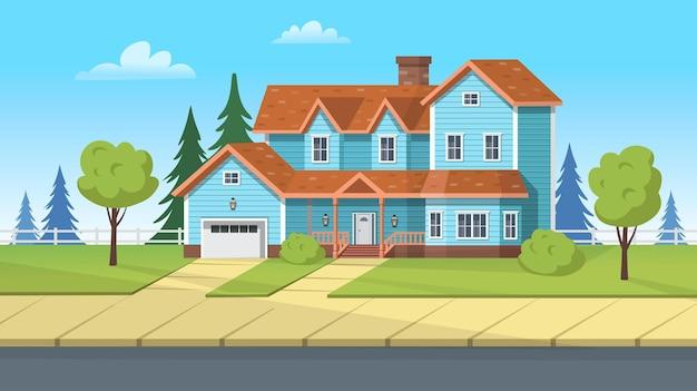 Gevelgebouw, huis in de voorsteden met garage en groen gazon. cartoon vectorillustratie voor games of animatie.