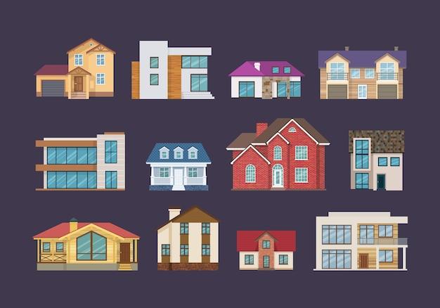 Gevels van onroerend goed, gebouwen, huisjes