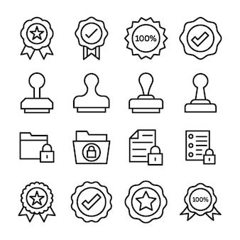 Geverifieerde stempel badges pictogrammen