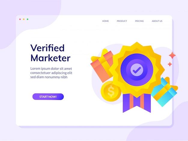 Geverifieerde verificatie certificering secure market website-bestemmingspagina