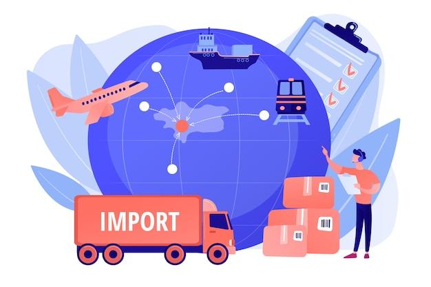 Gevestigde internationale handelsroutes. goederen overzee verkopen. exportcontrole, exportgeregelde materialen, concept van exportlicenties. roze koraal bluevector geïsoleerde illustratie