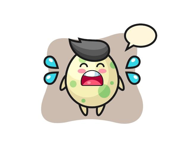 Gevlekte ei cartoon afbeelding met huilend gebaar, schattig stijlontwerp voor t-shirt, sticker, logo-element