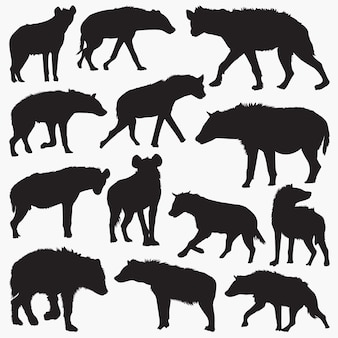 Gevlekte hyena silhouetten