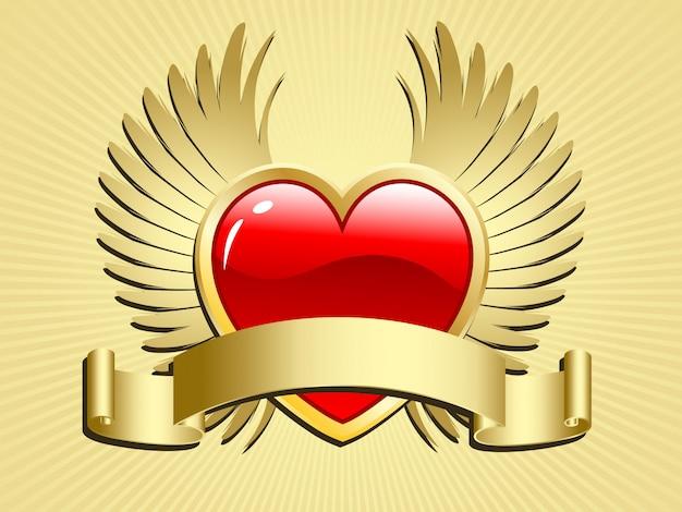 Gevleugeld hart met scroll