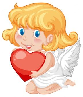 Gevleugelde cupido en rood hart