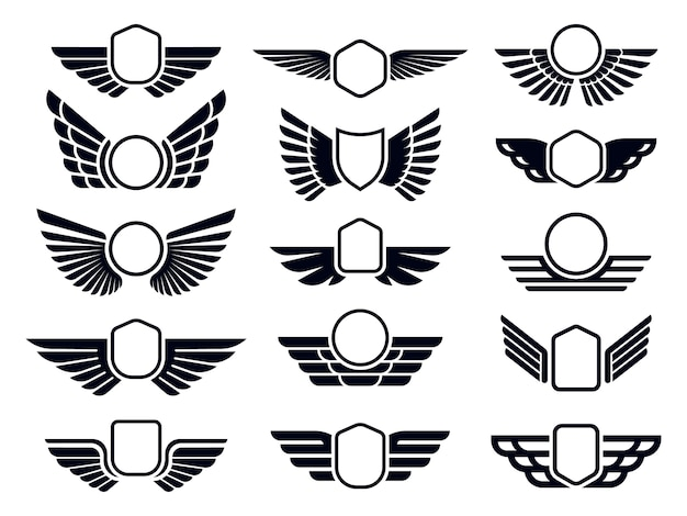 Gevleugelde frames. vliegende vogel schild embleem, adelaar vleugels badge frame en retro luchtvaart snelle vleugel. logo van leveringsvracht of insignes van militaire vleugels. geïsoleerde symbolen vector set