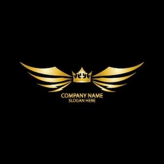 Gevleugelde kroon gouden logo / vectorillustratie.