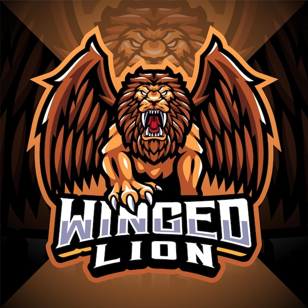 Gevleugelde leeuw esport mascotte logo