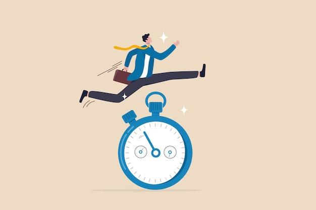 Gevoel van urgentie, snelle reactiehouding om het werk nu zo snel mogelijk gedaan te krijgen, reactie op prioritaire taak of belangrijk concept, snelle zakenman die rent en hoog springt over de countdown-timerklok.