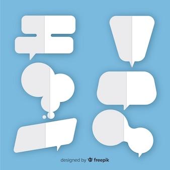 Gevouwen als tekstballonnen met verschillende vormen