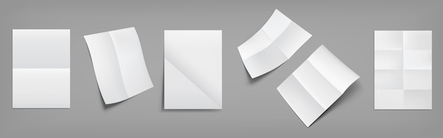 Gevouwen blanco, witte vellen papier met kruisende vouwen boven- en perspectiefweergave. realistische vector van lege gerimpelde folder, flyer, documentpagina's met plooien geïsoleerd
