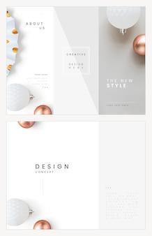 Gevouwen brochure sjabloon vector moderne stijlenset