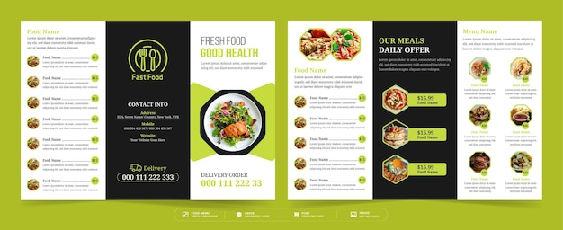 Gevouwen brochure voor eten, gevouwen brochure van restaurantmenu, sjabloon voor voedselmenu