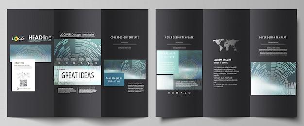 Gevouwen brochure zakelijke sjablonen aan beide zijden.