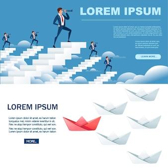 Gevouwen papier boten na de leider business mans op witte trappen op zoek in de toekomst met spyglass abstract concept platte vector illustratie horizontale banner ontwerp.