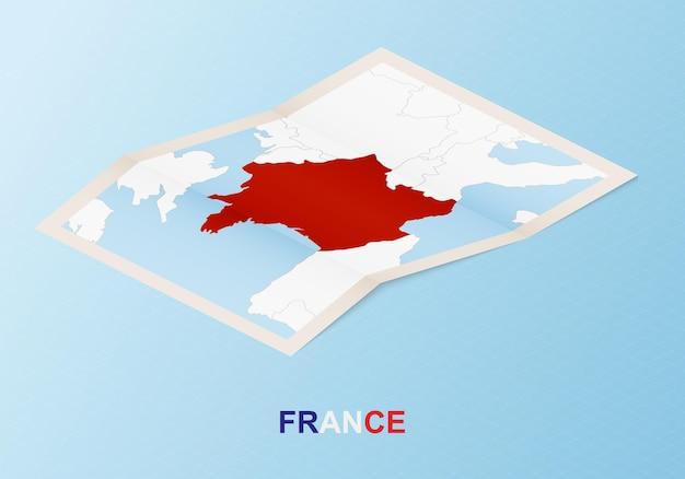 Gevouwen papieren kaart van frankrijk met buurlanden in isometrische stijl.