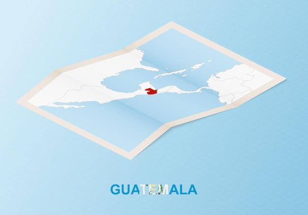 Gevouwen papieren kaart van guatemala met buurlanden in isometrische stijl.