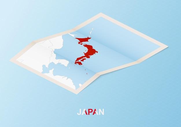 Gevouwen papieren kaart van japan met buurlanden in isometrische stijl.