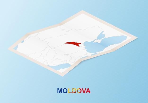 Gevouwen papieren kaart van moldavië met buurlanden in isometrische stijl.
