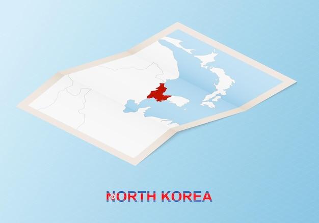 Gevouwen papieren kaart van noord-korea met buurlanden in isometrische stijl.