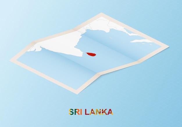 Gevouwen papieren kaart van sri lanka met buurlanden in isometrische stijl.