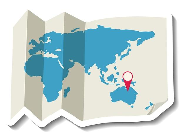 Gevouwen papieren wereldkaart met rode pin