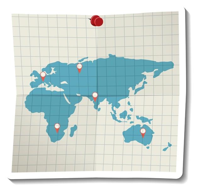 Gevouwen papieren wereldkaart