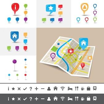 Gevouwen stadskaart met gps pin pictogrammen en markeringen