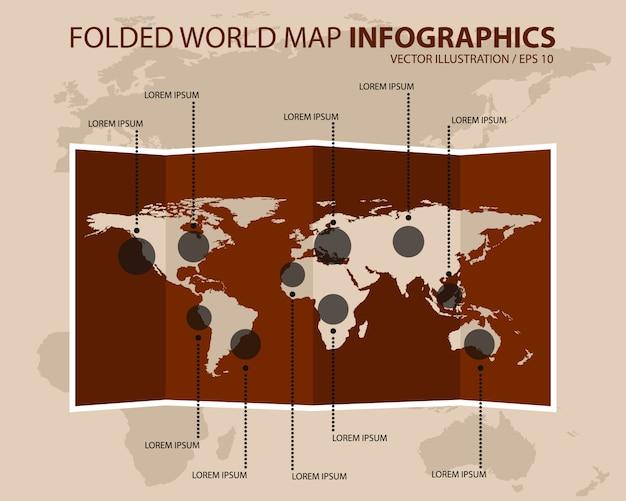 Gevouwen vintage wereldkaart infographics. vector illustratie.