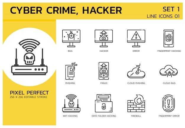 Gevulde lijn pictogrammen stijl. hacker cyber misdaadaanval