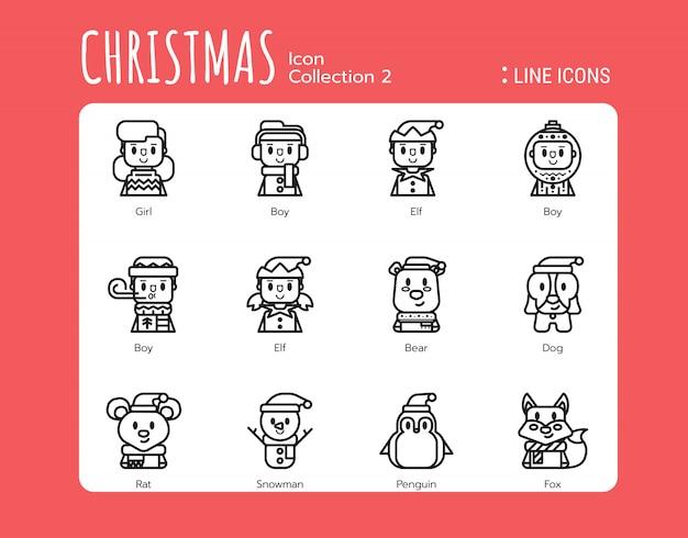 Gevulde lijn pictogrammen stijl. kerst avatar