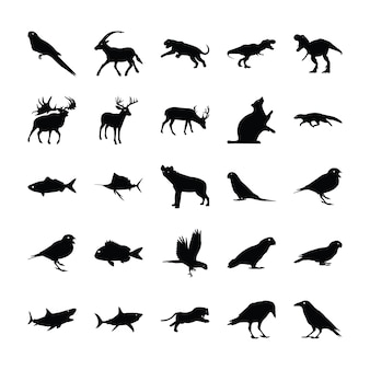 Gevulde pictogrammen van dieren