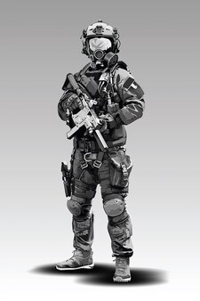 Gewapend politiemilitair dat voorbereidingen treft om met automatisch geweer te schieten.