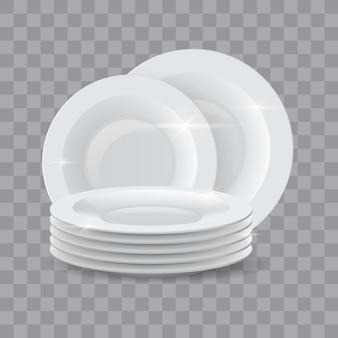 Gewassen gerechten. realistische schone dinerbordenstapel voor advertenties voor wasmiddel of vaatwasserzeep. keramisch glanzend servies schotel stapel 3d vector mockup. illustratie van servies porselein, bord leeg