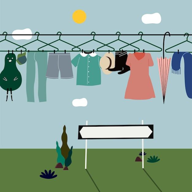 Gewassen kleding die aan de waslijn hangt