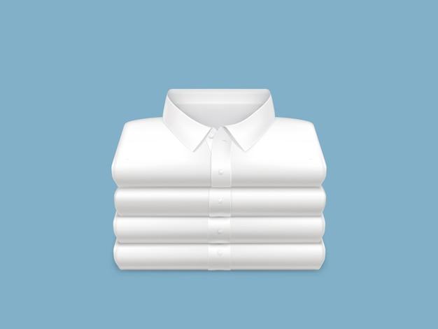 Gewassen, schoon, gestreken en gevouwen in stapel witte overhemden 3d realistisch