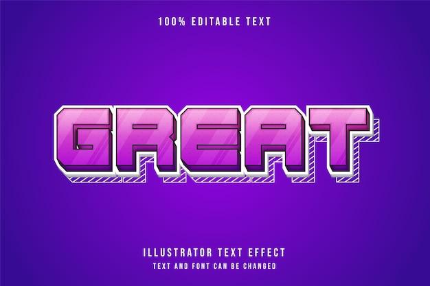 Geweldig, 3d bewerkbaar teksteffect paarse gradatie roze schattige lijnpatroonstijl