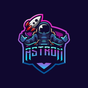 Geweldig astronot logo-ontwerp