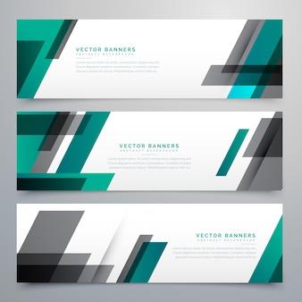Geweldig bedrijf banners set gemaakt met geometrische vormen