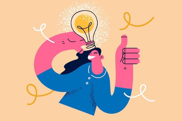Geweldig creatief idee en innovatieconcept. jonge lachende vrouw stripfiguur staande duimen opdagen met geweldig idee in gedachten met gloeilamp boven vectorillustratie