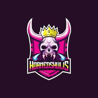 Geweldig esport-logo voor spel. demon schedel hoofd met hoorns