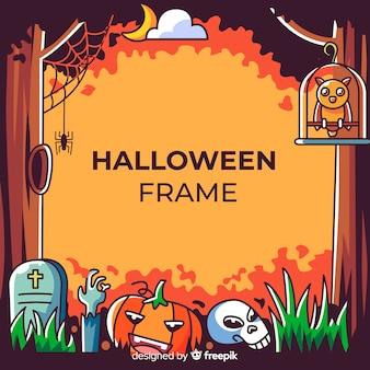 Geweldig halloween-frame met plat ontwerp