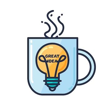 Geweldig idee concept met gloeilamp vorm en kopje drinken. gedachte en verbeeldingssymbool. vector